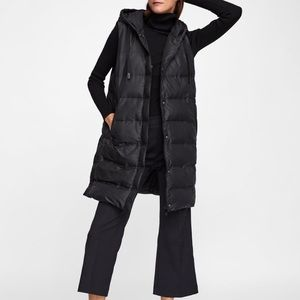 ZARA LONG BLACK QUILTED HOODED PUFFER VEST, L